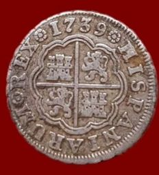 Spain - Felipe V, 1 Royal silver, Madrid 1739 (JF Practitioner) - 20 mm / 3.17 g