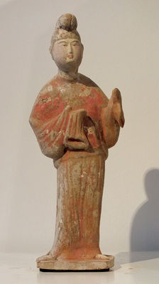 Chinese Red Pottery Figure of a Prince, Tang Dynasty - H. 30 cm