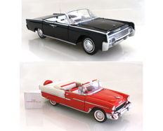 Franklin Mint - scale 1/24 - Chevrolet Bel Air 1955 and Lincoln Continental 1961