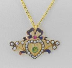 Chain with pendant in 9 kt yellow gold - pearls and coloured stones