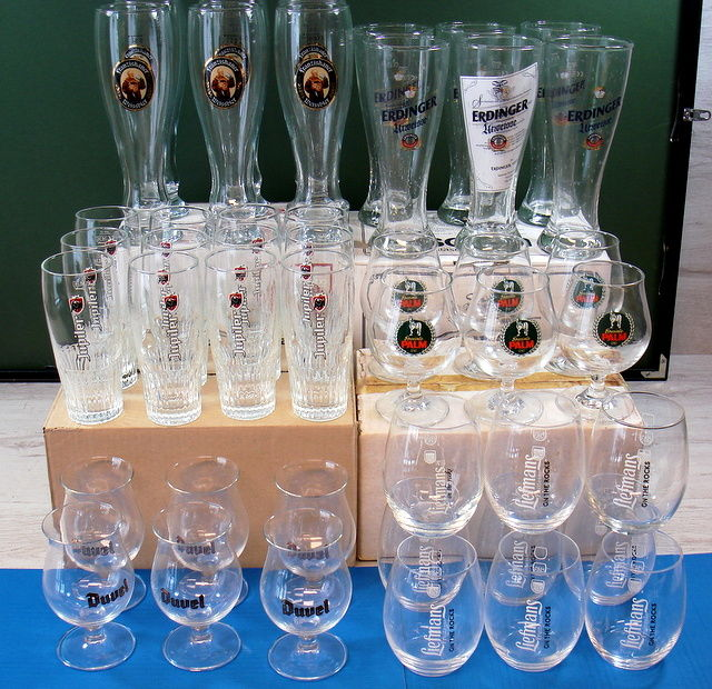 Collection of original brewery beer glasses