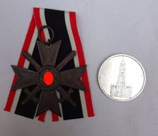 War merit cross (KVK) 2nd class with swords and a silver coin with a church 1934