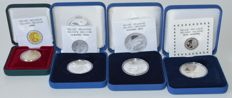 Belgium - 2 Euros 2009 and 10 Euros 2009, 2011 and 2015 (4 different) - silver