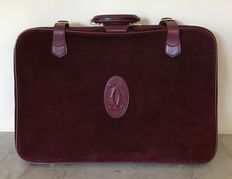 Cartier – Exclusive medium-sized suitcase in suede and leather. In excellent condition.