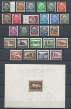 German Empire 1933/1944 – Selection including service – Michel block 4x, 130x131x, 132/143, 144/154, 155/165, 166/177, 512/528, 631/642