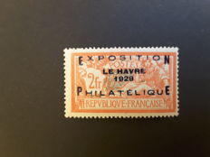 France 1929 – Philatelic exhibition of Le Havre – Yvert No. 257A signed Brun