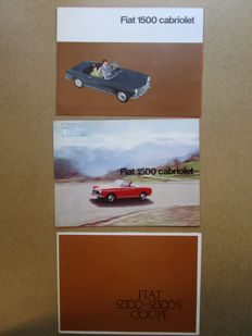 FIAT - Lot of 3 brochures for 1500 convertible and 2300 / 2300S coupe circa 1960