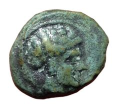 The Greek Antiquity - Sicily, Motya c. 415-397 BC - Æ Onkia (Bronze; 12mm; 1,53g.) - Male head / Crab - SNG ANS 510-511; Calciati 9 - Rare