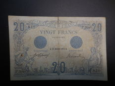 France - 20 Francs black - type 1905 - 28-12-1912 - Fayette 10.2