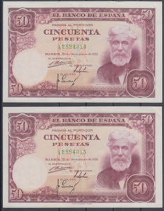 Spain - 50 pesetas from 1951 - Pick 141a - Correlative pair