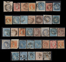 Spain 1856/1870 - Lot of 35 stamps with different cancellations of Huesca