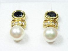 18 kt Gold Earrings with Pearls, Sapphires and Diamonds