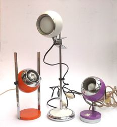 Unkown designer - Lot of 3 eyeball desk lamps