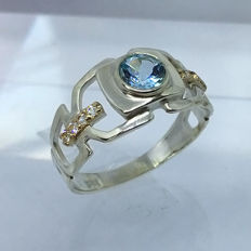 925 Silver & 14kt solid gold  1ct Swiss Topaz mens ring - size 11