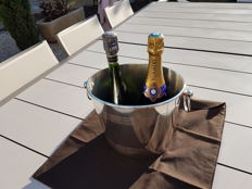 exceptional, heavy champagne or wine bucket for 2 bottles, with storage pouch, new/mint condition, Christofle