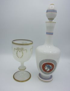 Opaline glass decanter and goblet, France, 19th century