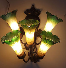 Bronze wall lamp with Murano style tulip bulbs, second half of the 20th century, Italy