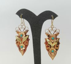 19.2kt - Old Gold Earrings - 5.4cm x 2.4cm + hook