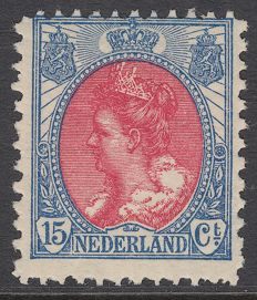 "The Netherlands 1899 - Wilhelmina ""Fur collar"", perforation variation - NVPH 65A, with inspection befund"