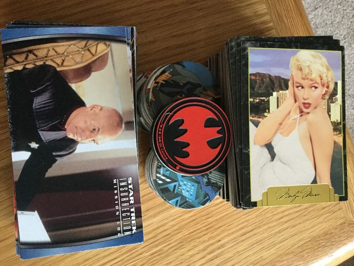 Full set 100 Marylin Monroe Series 2 Trading Cards PLUS 71 of 72 Star Trek Insurrection Trading Card1998A. ALSO 75 Batman, Warrington Pogs / Caps & 4 Slammers
