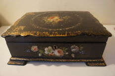 Papier Mache Jewellery or Sewing box, Mother of Pearl Abalone Inlay c. 1850