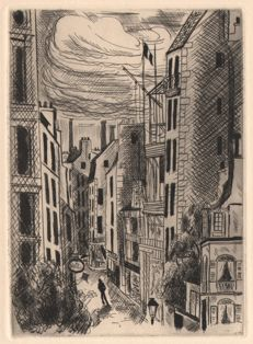André Dignimont (1891-1965) - Paris streets at night - 1927