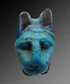 Egyptian faience fragment of head of Bastet - 30 mm