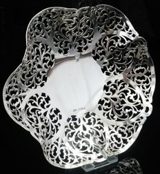 Large Silver Dish with Pierced Work Decoration, Birmingham 1990, W I Broadway & Co