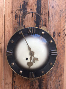 Art Deco school-/kitchen clock with half-hour striking mechanism on double bell