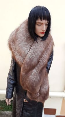 Extra-large wrap/scarf - Fox Fur - MADE IN ITALY.