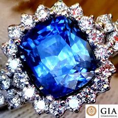Blue Sapphire Ring Cocktail Diamond And 18 kt Gold untreated 2.76 ct - Size 6.5 - GIA Certified - No Reserve