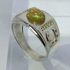 Opal 1.25ct and yellow tourmaline horseshoe mens ring - size 11