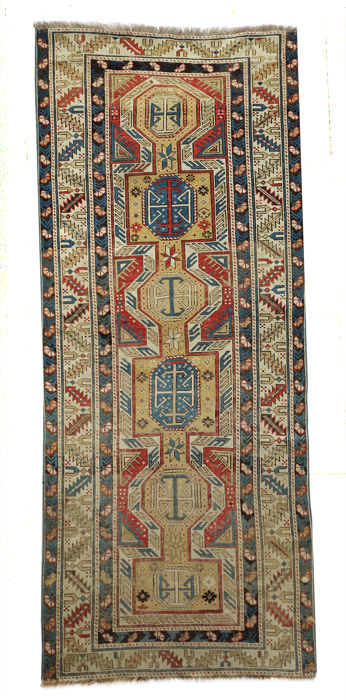 AUTHENTIC Caucasian Kazakh Runner circa 1880 c. 250x102 cm