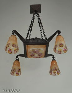 MARCEL VASSEUR & Verreries des Hanots - Art Deco chandelier - wrought iron and enamelled pressed glass