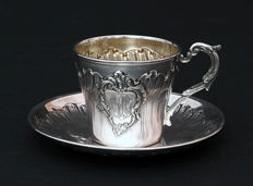 Silver cup and saucer, Armand Gross, France, 1893-1898