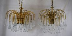 Unknown designer -- Pair of droplet chandeliers