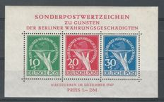 Berlin 1949 - Victims of inflation, with plate faults - Michel block 1