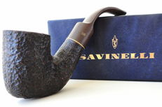 Rusticated pipe by Savinelli, model Rome + marble lighter designed in the 1970s