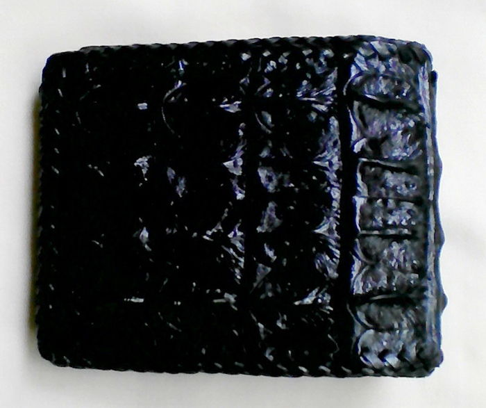 Crocodile leather purse.