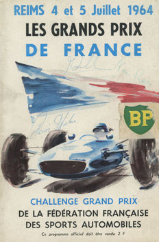 1964 Reims French Grand Prix Autographed programme Hulme Hill