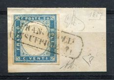 Sardinia, 1857 -- 20 cent, sky blue, on fragment and cancelled with stamp 'Francobollo Insufficiente' (Insufficient Stamp) -- Sassone no. 15f