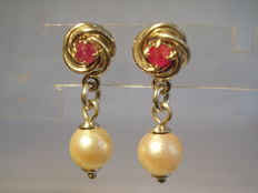 Earrings with natural rubies (0.19 ct) and white Akoya pearls