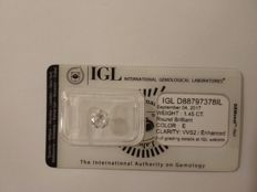 1.45 carat E VVS2 Round Brilliant Natural Diamond Comes With IGL Certificate