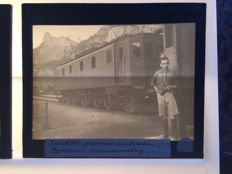 Glass slides 23 x 1915 +/- Switzerland - Bern - Railway Train - Tram - Sports club