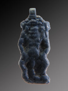 Egyptian blue faience Amarna Bes amulet - 19 mm
