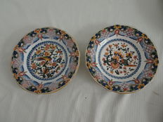 Tichelaar - 2 plates with multicoloured floral and bird decor
