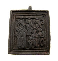 Late Medieval Bronze icon depicting the Celebration of the Resurrection of Jesus Christ - 58x50 mm