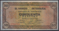 Spain - 50 Pesetas from 1938 - Series C - Pick 112a