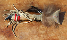 Coyote fur and deer foot dance rattle - Plains Indian - United States of America