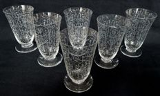 6 Baccarat crystal champagne flutes, Michelangelo pattern, France, before 1936